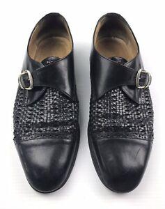 Bally Men's Black Leather Mesh Buckle Monk Strap Casual Dress Shoe Size 10