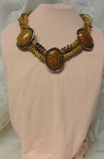 Vintage Italy Modernist Signed Wilma Spagli Hidden Snake Skin Chunky Necklace