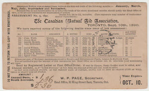 Calgary, Alberta 1896 split ring on card from Toronto