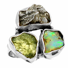 Moldavite, Ethiopian Opal Rough Meteor 925 Silver Ring Jewellery Size UK P US 8