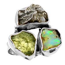 Moldavite, Ethiopian Opal Rough Meteor 925 Silver Ring Jewellery Size UK P US 8