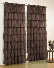 2Pc.Gypsy Crushed Voile Sheer Ruffled Window Curtain Treatment Panel Drape-Brown