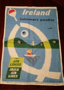 "AER Lingus Irish Air Lines ""Ireland"" linen poster"