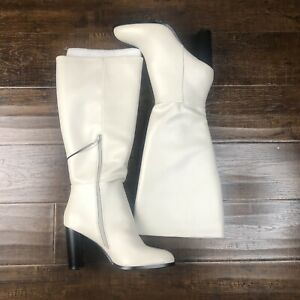 White Over the Knee Platform Heel Boots Faux Leather Size 10