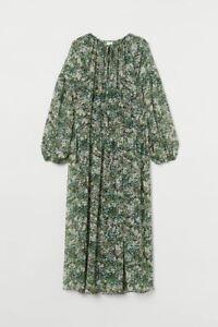 NWOT H&M Long Chiffon Maxi Dress Green Floral Long Sleeve XL