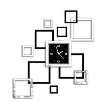 Modern Removable Mirror Acrylic Wall Clock Sticker Art DIY 3D Home Decor Square