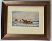 19th Century UK European Impressionist Watercolor Signed Seascape Fishing Boat