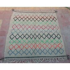 """square moroccan rug berber tribal Azilal rugs coloured hand knotted 4'9"""" x 4'9"""""""