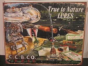 TRUE TO NATURE  LURES,VINTAGE-STYLE METAL WALL SIGN, 41x31cm, USA-IMPORT/FISHING