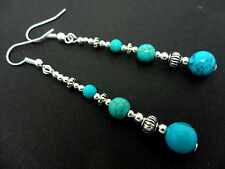 A PAIR TIBETAN SILVER TURQUOISE  BEAD  EXTRA LONG DANGLY EARRINGS. NEW.