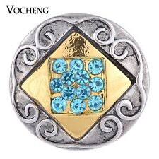 Vocheng 2 Colors Square Inlaid Crystal 18mm Metal Snap Button Vn-1090