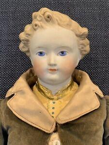 """Antique 19"""" Parian Dresden Gentleman Boy Doll Excellent Bisque"""