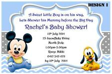 1 x MICKEY MOUSE BOY BABY SHOWER PARTY PERSONALISED INVITATIONS + FREE MAGNETS