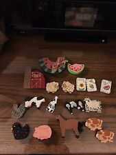 Children Farm wooden craft supplies for pins, magnets, jewelry, hair, play
