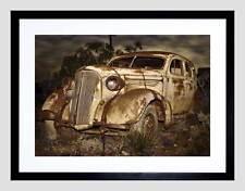 OLD RUSTED ABANDONED CAR BLACK FRAME FRAMED ART PRINT PICTURE MOUNT B12X9342