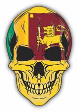"Skull Flag Sri Lanka Car Bumper Sticker 4"" x 5"""