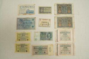 Lot of 12 Vintage German Marks - Paper Money