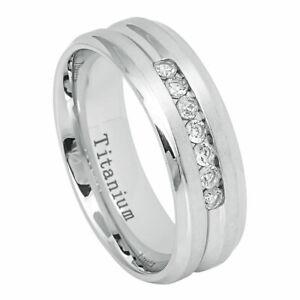 Men's 7mm Titanium Band White IP Ring Brushed with 7 Cubic Zirconia CZs