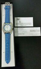 Manhatten by Croton Womens Crystal Bezel Italian Leather Strap Watch -New