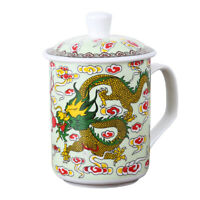 NEW China Dragon Ceramic Porcelain Tea Cup Coffee Mug with Lid Good Gifts 15.2oz