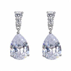 Fashion Women's Silver white Zircon Stud Drop Hoop Earrings Valentine's Day gift