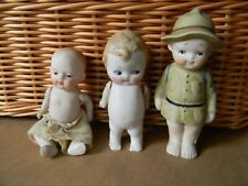 3 Antique All Bisque Dolls Nippon Soldier & Baby & German Doll