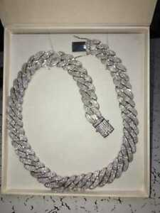 925 Sterling Silver Full Ice Out Chain Cubic Zirconia 18 inch beautiful chain