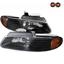 96-00 Dodge Caravan  Chrysler Town& Country Euro Headlights Black Housing Clear