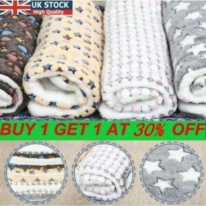 UK-Pet Mat Paw Print Cat Dog Puppy Fleece Soft Warm Blanket Bed Cushion Mattress