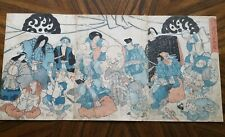 Antique Japanese Woodblock Print, Triptych, Comic Acts