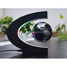 Floating Magnetic Globe Levitation World Map Office Desk Decor LED Silver NEW