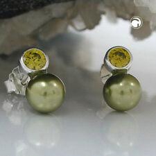 Stecker Zirkonia-oliv perle Imitat 925