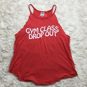 Victoria's Secret Pink Gym Class Drop Out Tank Top Medium Scoop Neck Coral J1