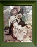 Antique Print Kittens Girl Victorian Framed  You Mustn't Pull 30 x 20""