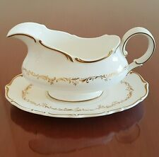 Royal Doulton Richelieu Gravy Boat and Underplate White Gold Scrolls Leaves