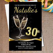 10 Personalised 18th 21st 30th 40th 50th Black & Gold Birthday Invitations N196