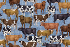Fabric Cows Farm Bountiful on Denim Blue Cotton by the 1/4 yard