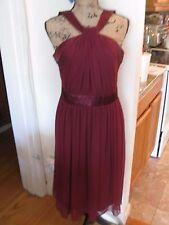 LONDON STYLE NIGHTS, WOMEN'S Magenta Poly Sleeveless Mid Calf Dress Sz 8