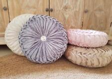 New round ruched cushion velvet 45cm large luxury diamante decorative grey