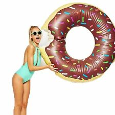 Big Mouth Toys Chocolate Donut Pool Float 4' Giant Inflatable Fun Sea Water Lilo