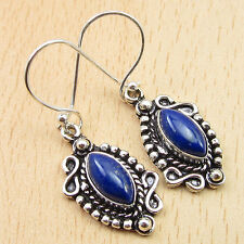 """Gems Old Style Earrings 1.7"""" Oxidized 925 Silver Plated Marquise Lapis Lazuli"""