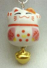 A Cute Japanese Lucky Maneki Neko Bell Cat Mobile Phone, Bag, Handbag, Zip Charm