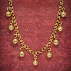 ANTIQUE VICTORIAN NECKLACE 18CT GOLD ON SILVER BALL COLLAR CIRCA 1900