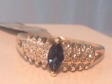 Ladies Natural Diamond and Blue Sapphire ring in 14k Yellow Gold
