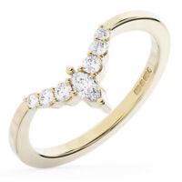 0.20 Ct Round and Marquise Cut Diamond Half Eternity Wedding Ring 9K Yellow Gold