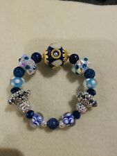 Beaded Stretch Bracelet Lilah Ann Beads Lapis Crystal Czech Bali Blue