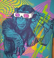 Retro Light Blue Gorilla Boombox 3D Glasses Pink Yellow 80's Colors T Shirt L