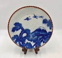 "Antique Igezara Dinner Plate Meiji Blue White Cranes Mount Fuji Piecrust 9 5/8"""