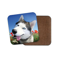 Happy Husky Dog Coaster - Malamute Wolf Dogs Puppy Cute Animals Pets Gift #15883