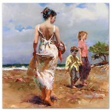 """Pino """"Mediterranean Breeze"""" Mom Children beachside Embellished Canvas HS# 12x12"""